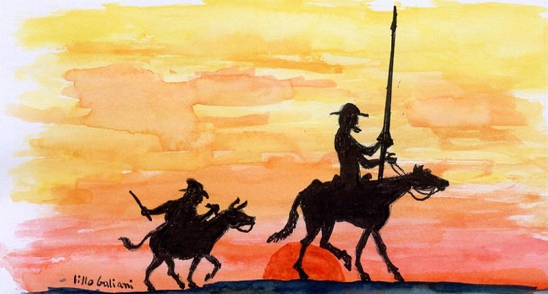 Ilustración de Don Quijote y Sancho.